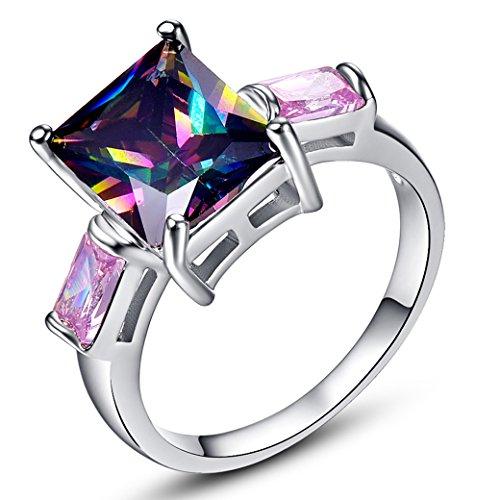 Narica Women's Elegant 8mmx10mm Emerald Cut Rainbow Topaz CZ Engagement Ring Band