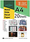 Mixed Waterslide Decal Paper for Inkjet Printer 20 Sheets (10 White 10 Clear-Transparent) A4 Size Premium Quality Water Slide Transfer Printable Paper High Resolution DIY Design
