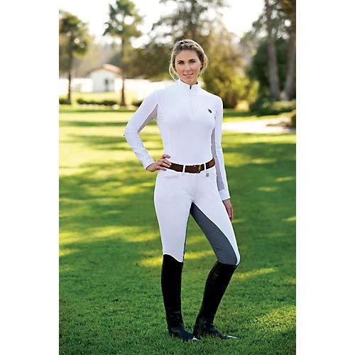 Romfh Women's LDS Sarafina Microfiber Soft Full Seat Breeches, White/Light Grey, 28 Long - Breech Seat Zip Full