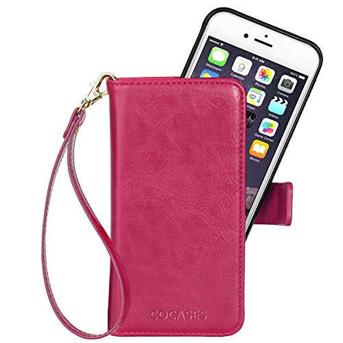 COCASES Wallet Case Compatible iPhone 8 Plus, iPhone 7 Plus, iPhone 6/6s Plus, Flip Folio PU Leather Magnet Stand Cover Card Slot Wrist Strap (5.5'' Rose Red)