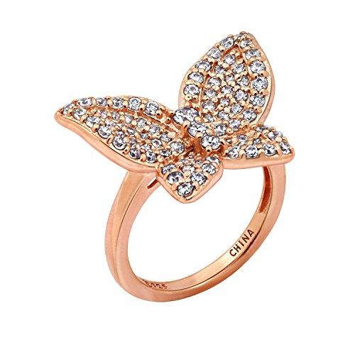 DIAMONBLISS Rose Gold Clad Swarovski Zirconia Whimsical Butterfly Ring, Size (Swarovski Butterfly Ring)
