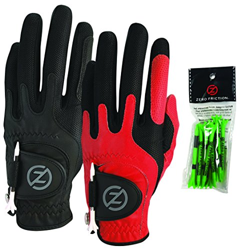 Zero Friction Male Mens Compression-Fit Synthetic Golf Glove (2 Pack), Universal Fit Black/Red, One Size
