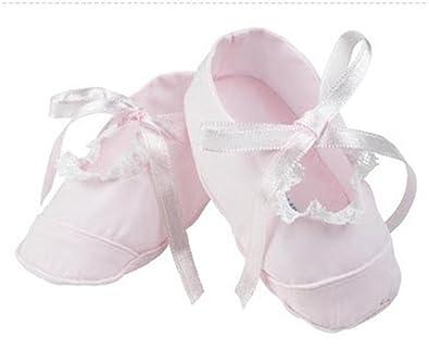 Amazon.com: feltman Hermanos Rosa Niñas Lace Trimmed Booties ...
