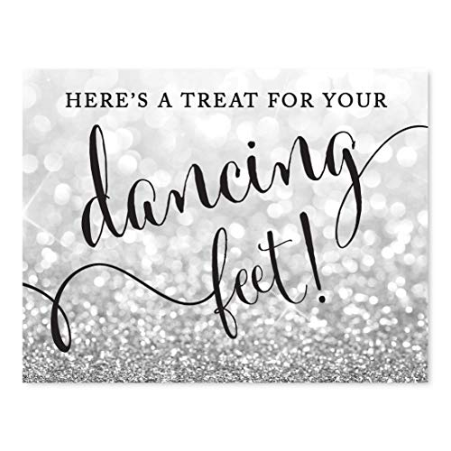 Andaz Press Wedding Party Signs, Glitzy Silver Glitter, 8.5x11-inch, Here's a Treat for Your Dancing Feet! Flip Flop Sandals High Heels Shoes Dance Floor Reception Sign, 1-Pack