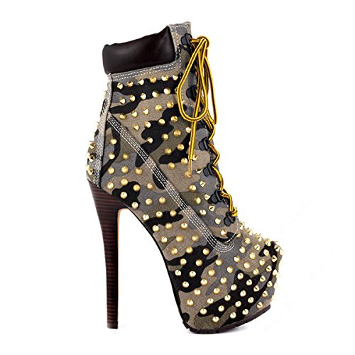 Boots Studded Pointed Platform Light Up Rivet Women's Ankle Toe Lace Camouflage Heel High onlymaker PqEY77