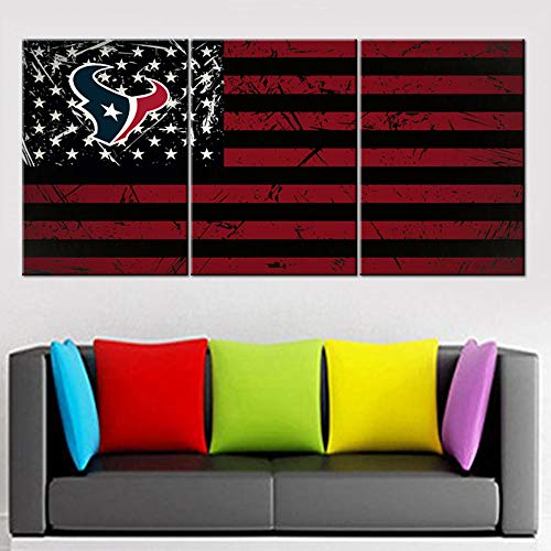 American Flag Wall Decor Stars Stripes Patriot Paintin Houston Texans Artwork Living Room House Decoration 3 Piece Prints Wall Art Canvas Pictures Framed Gallery-Wrapped Ready to Hang(42''Wx20''H)