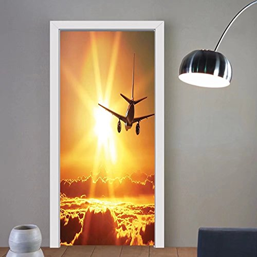 Gzhihine custom made 3d door stickers Scenery Decor Aero plane Aircraft Widebody Jet Flying on Air Rising Sun with Fluffy Clouds Art Multi For Room Decor 30x79 by Gzhihine