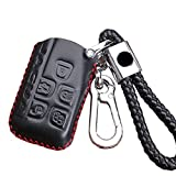 KMT Leather Car Remote Key Fob Case Cover Holder Shell For Jaguar Smart Key (Black)