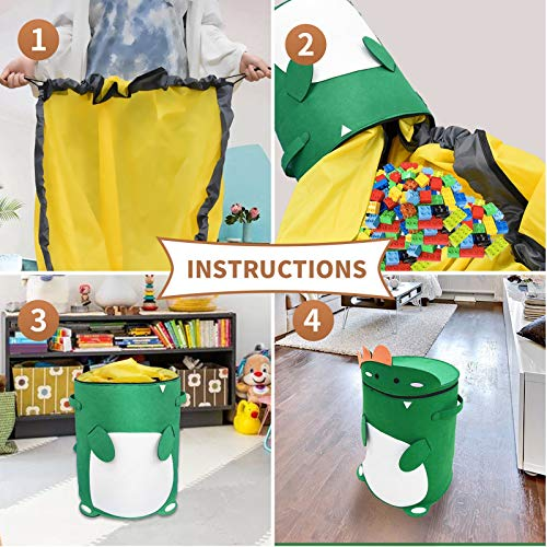 CAVWVTYU Toy Mat Storage Bag - Dinosaur Thick Felt Toy Storage Basket Waterproof Oxford Play mat for kids 2-in-1 Drawstring Toy Storage Bag with 59\'\' Durable Toy Mat Bag Play Mat