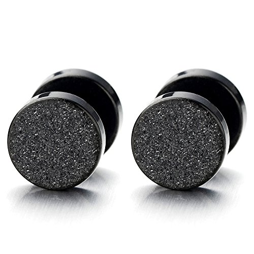 2pcs 6mm Black Screw Stud Earrings for Men Women, Steel Cheater Fake Ear Plugs Gauges Illusion Tunnel