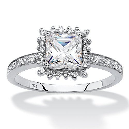Platinum over Silver Princess Cut Created White Sapphire and Diamond Accent Engagement Ring Size - Ring Cut Square Brilliant