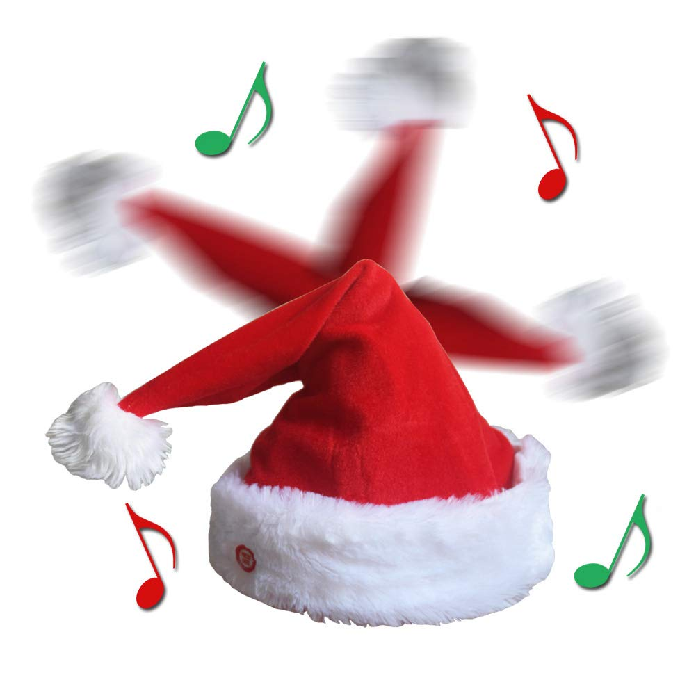 f87f6f68332 Qiuyejuo plush musical novelty christmas hat moving xmas party hats funny  singing dancing santa hat jpg