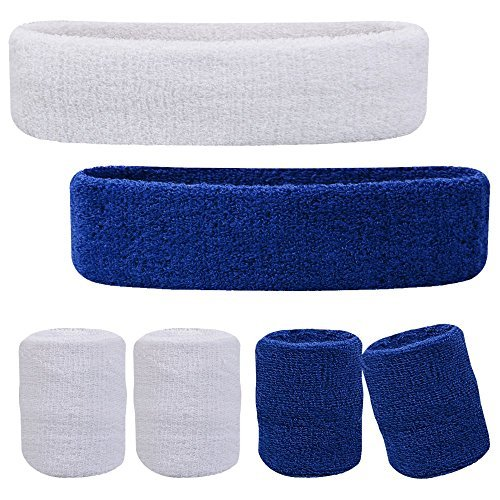 Oldhill Sweatband Set - Thick Terry Cloth Cotton for Sports Indoor and Outdoor