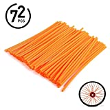 72Pcs Universal Spoke Skins Covers - Ovelur Wheel Spoke Wraps Skins Pipe Trim Decoration Protector For Motorcycle Dirt Bike Yamaha Honda Harley Suzuki(Orange)