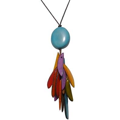 trouver le prix le plus bas grande sélection différemment Les Poulettes Bijoux - Collier Tagua Perle et Lamelles Multicolores -  Classics
