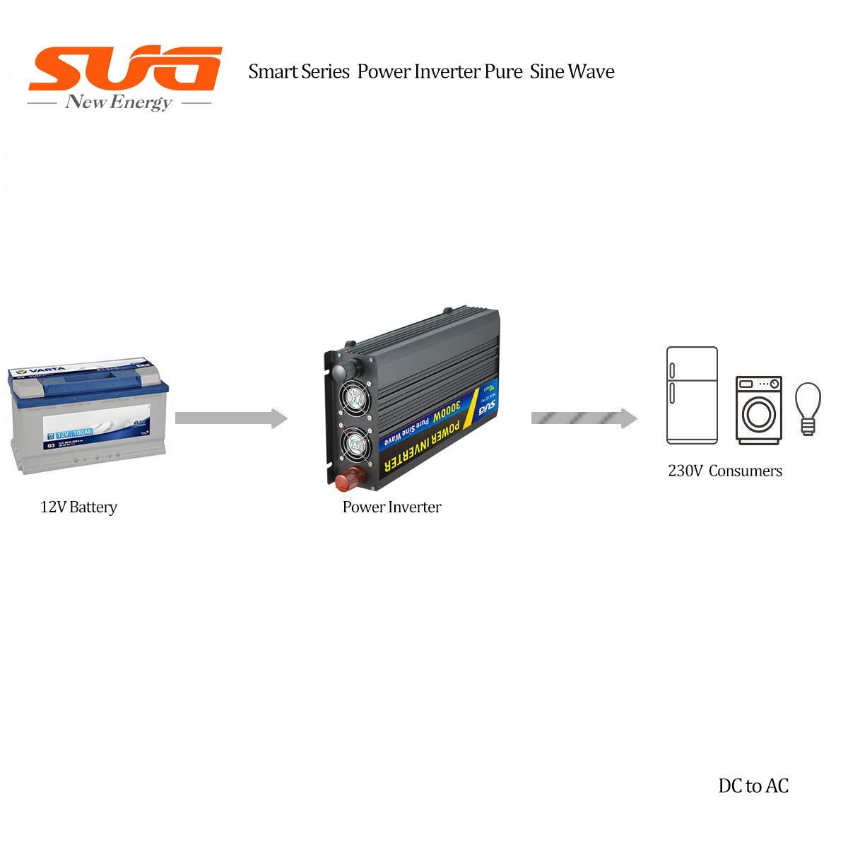 SUGPV Sug 3000w 12v DC 220vac Onda Pura inversor de Corriente con Pantalla led