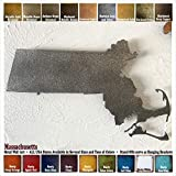 Massachusetts metal wall art – Choose 12″, 17″ or 22″ wide – Handmade – Choose your patina color and Any USA State Review