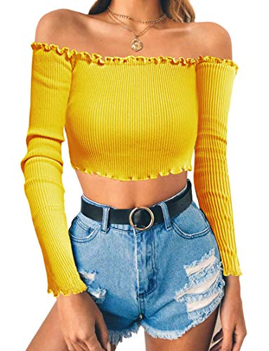 Tube Top Corset - Floral Find Women's Sexy Off Shoulder Crop Tops Strapless Ruffle Casual Long Sleeve Slim Tees (Small, Yellow)