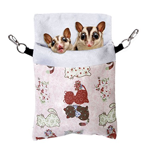 (KINTOR Sugar Gliders Sleeping Pouch Snuggle Cage Hanging Bed House for Squirrels Marmosets Rats Hamster Small Pets (L-11x7.8inch, Pink Cat))