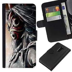 KLONGSHOP // Tirón de la caja Cartera de cuero con ranuras para tarjetas - Totem máscara de dibujos animados - LG G2 D800 //