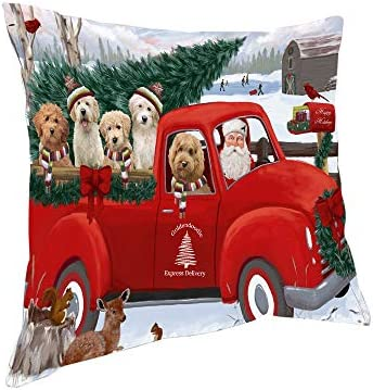 Doggie of the Day Christmas Santa Express Delivery Goldendoodles Dog Family Pillow PIL76512 18×18