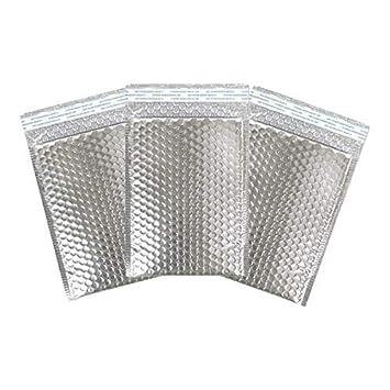 Sobres de papel metálico con diseño de burbujas de sellado y pétalos de 180 x 260 mm, color metallic silver 100