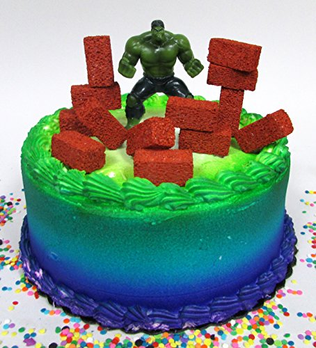 Price comparison product image Super Hero Avengers INCREDIBLE HULK Birthday Cake Topper Set with Figure and Decorative Accessories