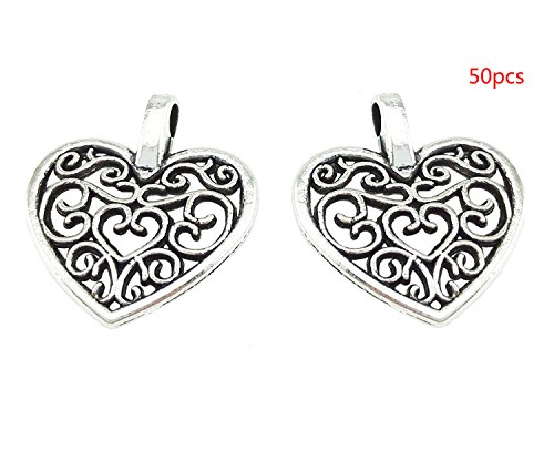 yueton Pack of 50 DIY Heart Charms Pendants for Making Bracelet and Necklace