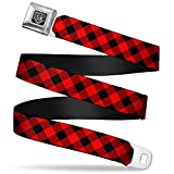 Buckle-Down Seatbelt Belt - Diagonal Buffalo Plaid Black/Red - 1.5' Wide - 24-38 Inches in Length
