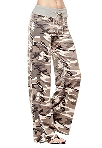 NEWCOSPLAY Women's Comfy Stretch Floral Print High Waist Drawstring Palazzo Wide Leg Pants (M, Camouflage) by NEWCOSPLAY (Image #2)