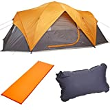 AmazonBasics 8-Person Family Tent, Self-Inflating Air Pad and Self-Inflating Air Pillow Bundle