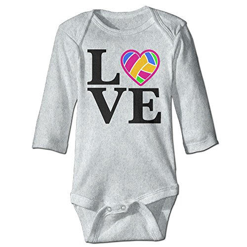 ScotchBlue Love Volleyball Fall Long Sleeve Infant Baby Boys Girls Climb Romper | Crawling - Beach Candid Volleyball