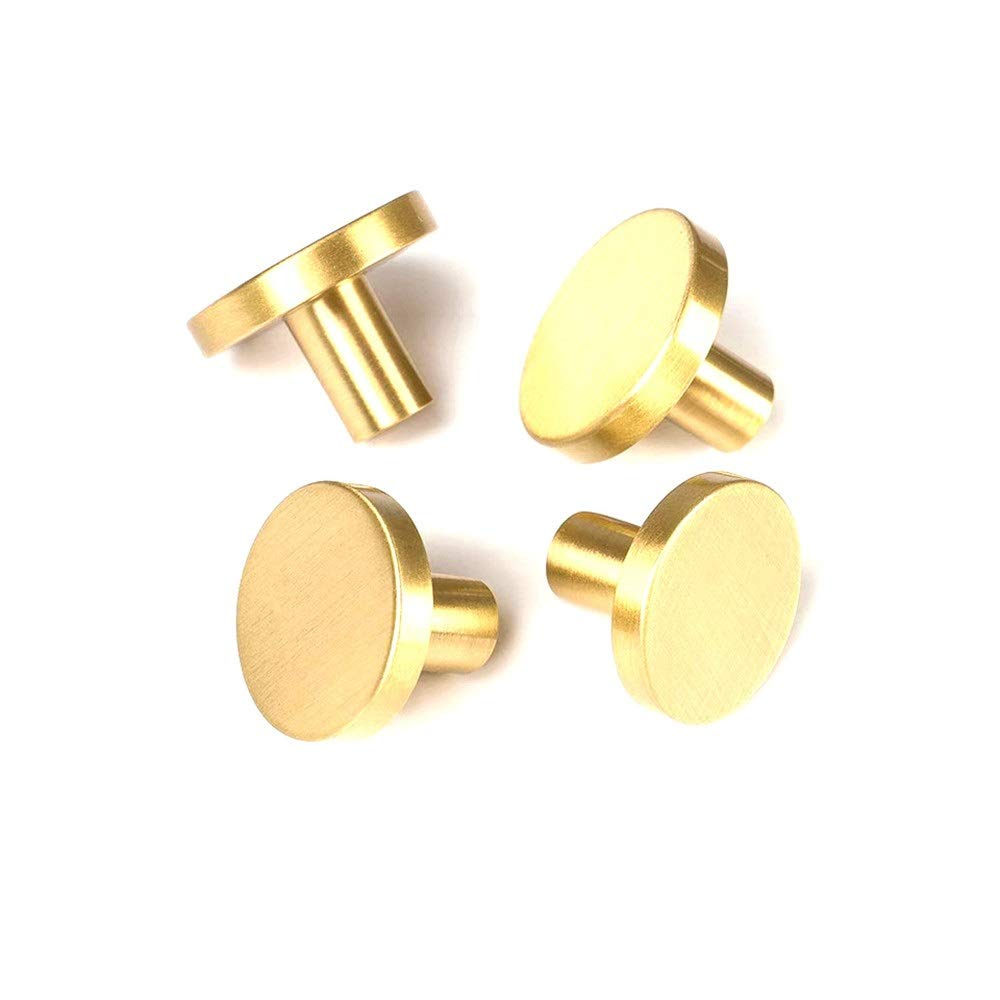Door Pull Handle 10× Brushed Golden Solid Brass Cabinet Knobs/Hat Hook, Cupboard Wardrobe Door Kitchen Drawer Flat Round Knobs, Modern Mushroom Pull Handles