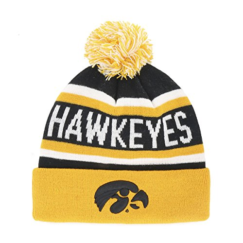 OTS NCAA Iowa Hawkeyes Jasper Cuff Knit Cap with Pom, One Size, (Eye Jasper)