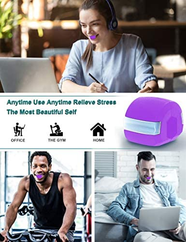 Jaw Exerciser, 2021Jawline Exerciser Face and Neck Toning Ball Equipment, Define Your Jawline, Slim and Tone Your Face, Look Younger and Healthier, jawline Exerciser for Women and Men (Purple) 4