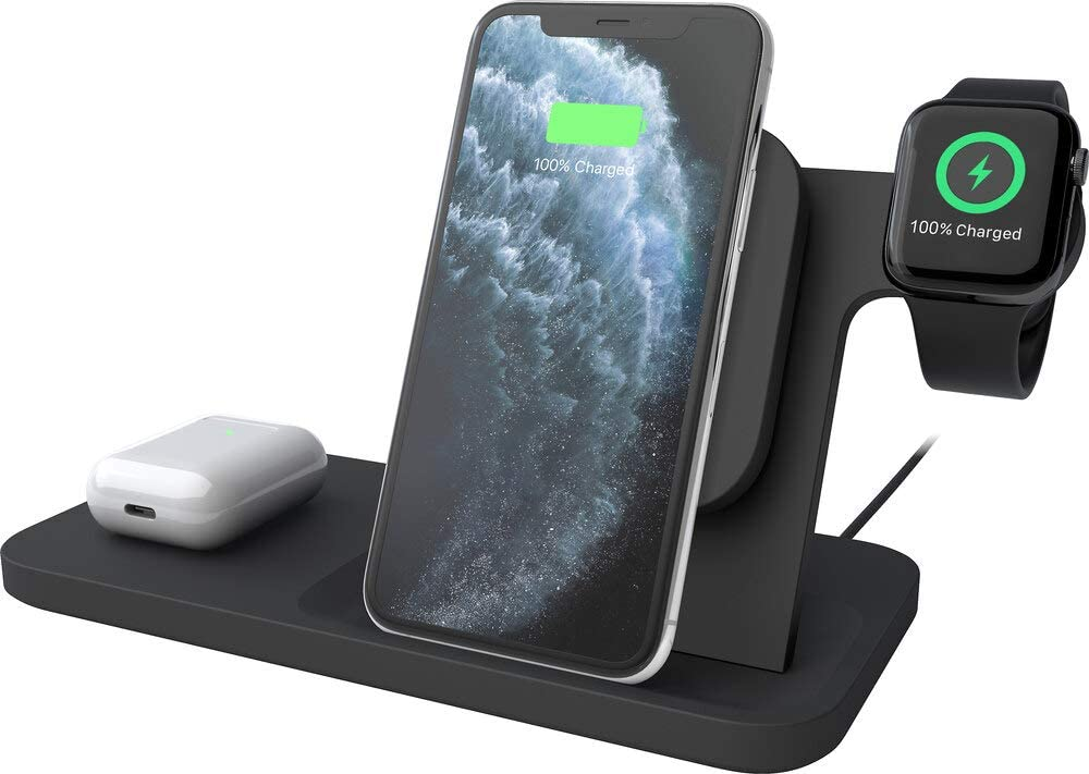Logitech powered 3-in-1 Qi wireless charging dock (graphite)