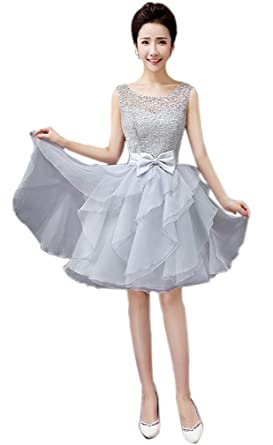 Eyekepper Round Neck Lace Prom Party Short Evening Dresses 4