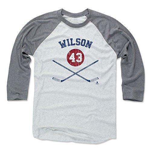500 LEVEL Tom Wilson Baseball Tee Shirt Large Heather Gray/Ash - Washington Hockey Raglan Shirt - Tom Wilson Sticks B (Ash T-shirt Hockey)
