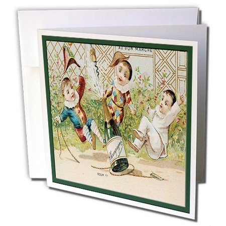 rade Cards Ad Art Reproductions - French Champagne Bottle Popping Cork with Three Little Clowns - 1 Greeting Card with envelope (gc_180196_5) ()