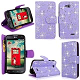 Cellularvilla Wallet Case for LG Optimus L90 Dual D410 Pu Leather Shiny Glitter Wallet Card Flip Open Pocket Case Cover Pouch (Purple Glitter)