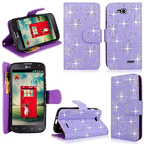 Case for LG Optimus L90 Dual D410 Pu Leather Shiny Glitter Wallet Card Flip Open Pocket Case Cover Pouch (Purple Glitter) ()
