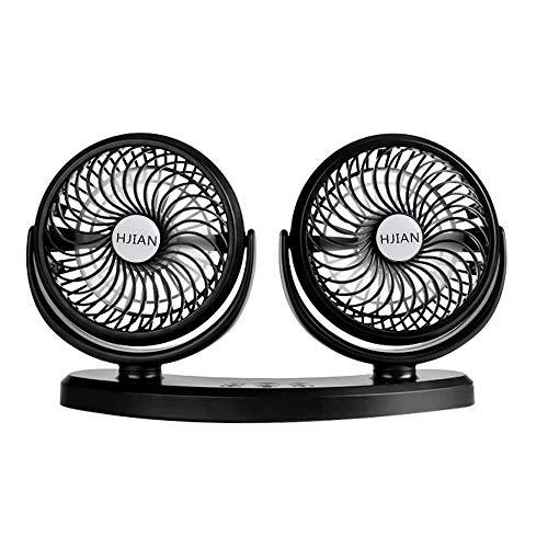 HJIAN Car Fan, 360 Degree Swivel Electric Car USB Fan 3 Speed Dual Head Car Auto Cooling Air Circulator Fan for Van SUV RV Boat Auto Vehicles Golf Home Office (Black)