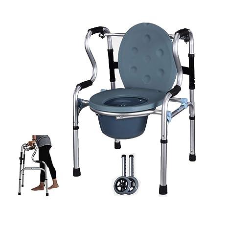 Andador de ruedas Asiento de inodoro móvil Silla Marco para ...