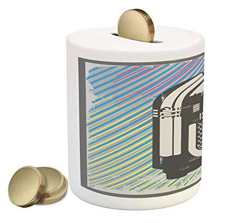 Ambesonne Jukebox Piggy Bank, Radio Party Dark Grey Vintage Music Box with Abstract Grunge Colorful Stripes Image, Printed Ceramic Coin Bank Money Box for Cash Saving, Multicolor