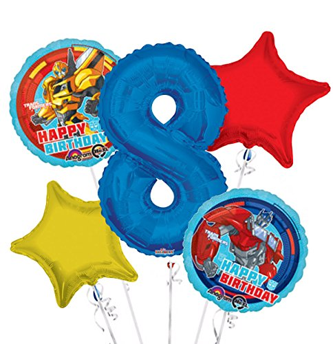 Transformers Happy Birthday Balloon Bouquet 8th Birthday 5 pcs - Party -