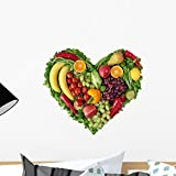 Wallmonkeys Heart Fruits and Vegetables Wall Decal Peel and Stick Graphic (18 in W x 17 in H) WM349365