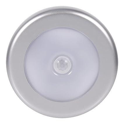 Fdit 3 Pcs Inalámbrico PIR Sensor de Movimiento Automático Luz de Noche 6 LED Cuerpo Redondo