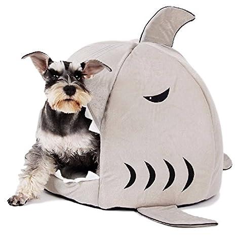 Ducomi® El Tiburón - Casa para perros o gatos acolchada con suave cojín. (