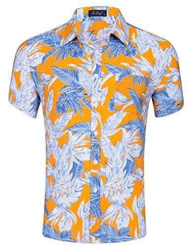 (XI PENG Men's Tropical Short Sleeve Floral Print Beach Aloha Hawaiian Shirt (Yellow White Banana Palm Leaves, Large) )