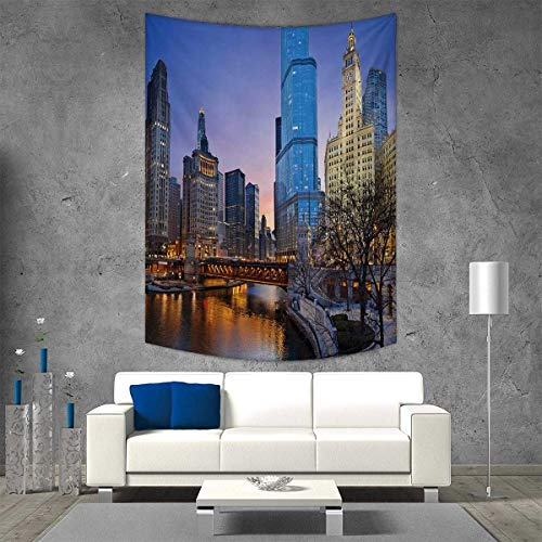 Maps Wall Cosmopolitan (smallbeefly Landscape Customed Widened Tapestry USA Chicago Cityscape Rivers Bridge Skyscrapers Cosmopolitan City Image Wall Hanging Tapestry 70W x 84L INCH Multicolor)